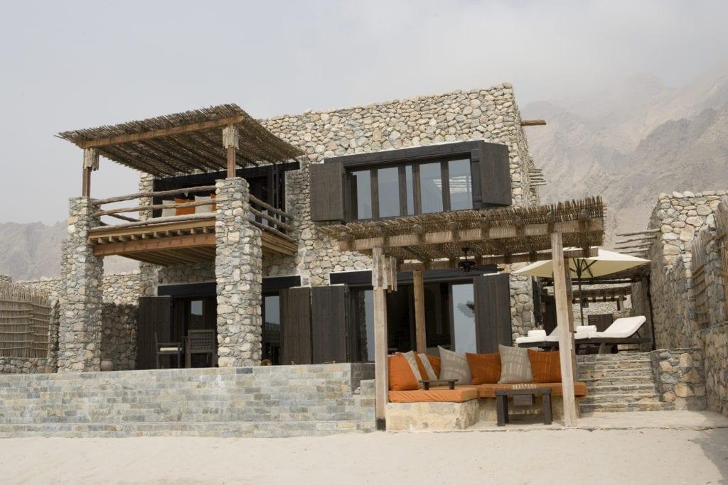 Duplex bedroom pool villa suite exterior Six Senses Zighy Bay Oman