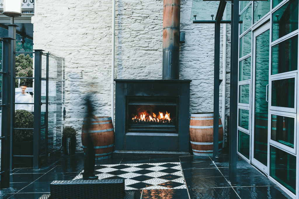 Fireplace in Eichardt's private hotel New Zealand