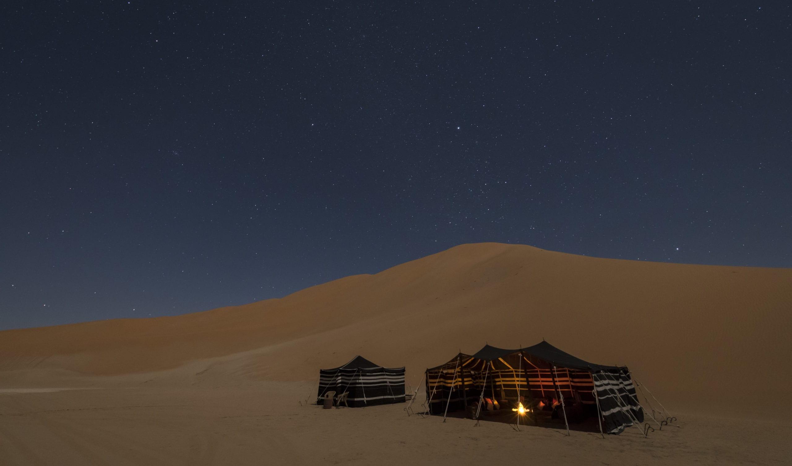 Empty Quarter Bedu Camp At Night Dunes Desert Oman