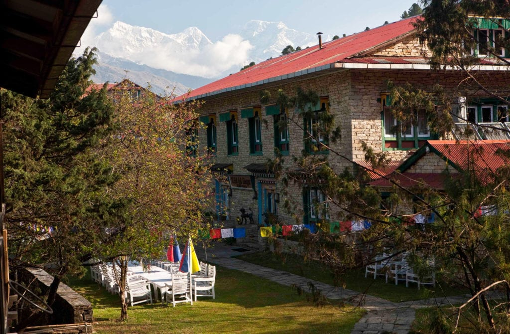 Exterior of Hotel Del Sherpa with Prayer Flags in Nepal