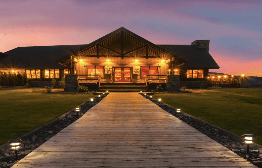 Exterior of Paws Up at Night Montana North America