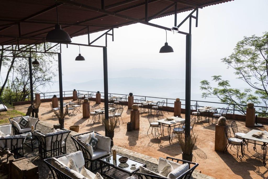 Outdoor Farm Lounge Dining area at Dwarikas Resort in Nepal