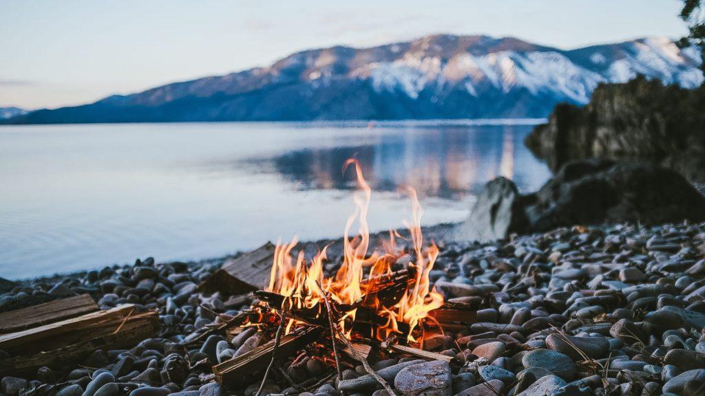 Fire at Lake Baikal in Siberia Russia