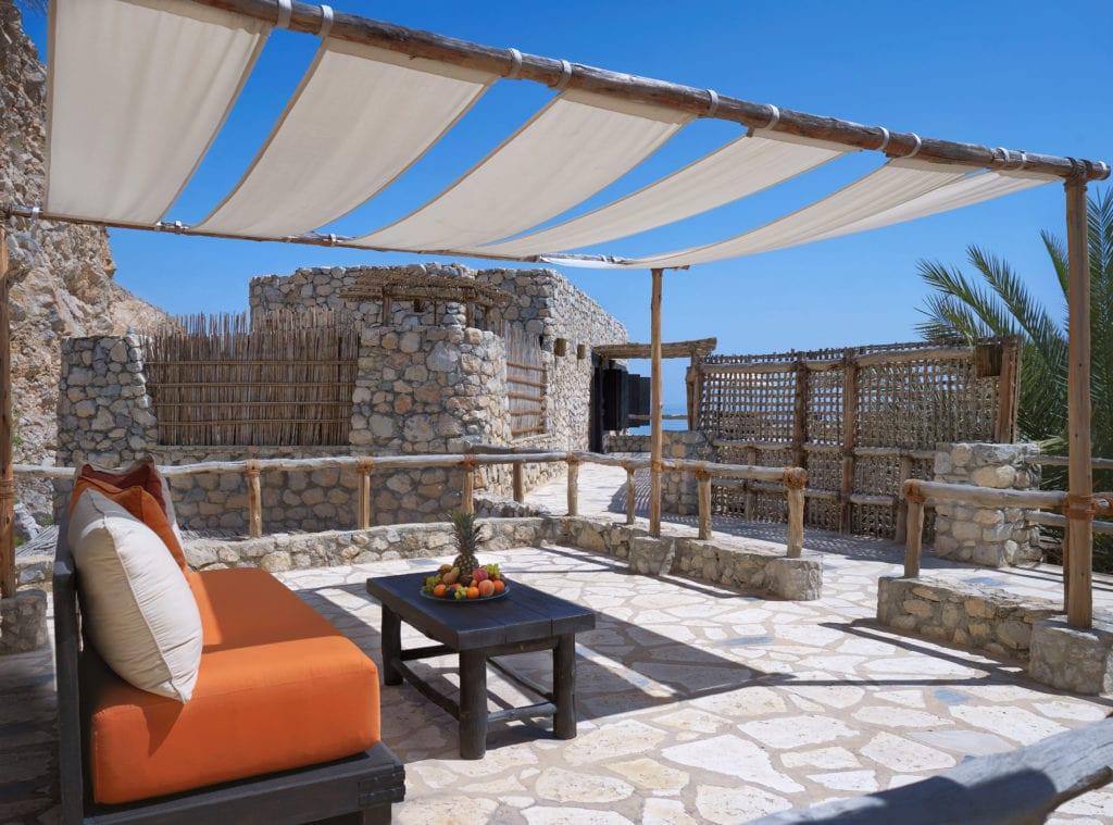 Four Bedroom Beachfront Reserve outdoor relaxation corner Six Senses Zighy Bay Oman