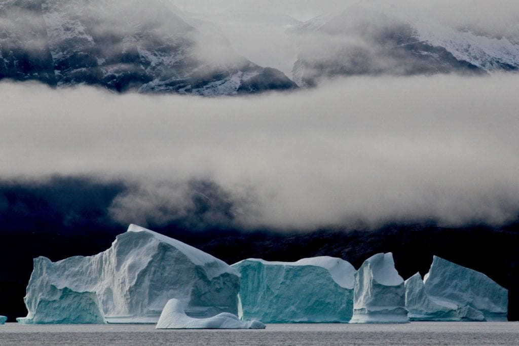 Greenland Glacier Fog mountains