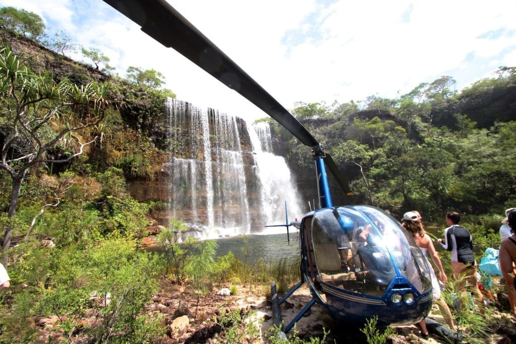 Heli at Waterfall on Haggerstone Island in Australia