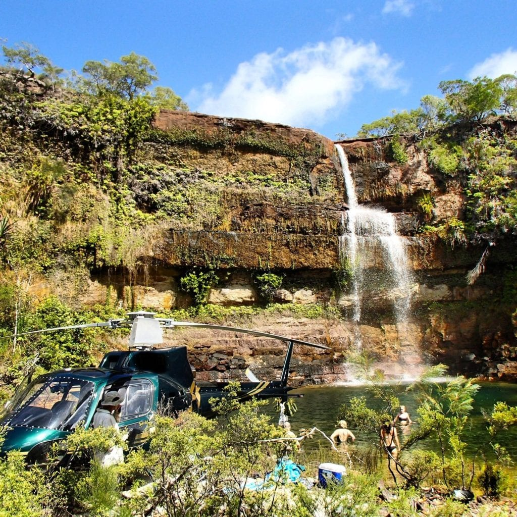 Helicopter at Waterfall on Haggerstone Island in Australia