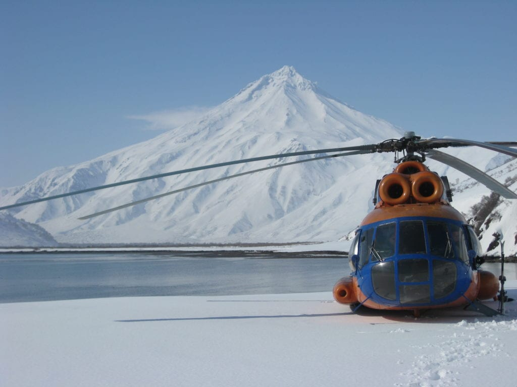 Helicopter on the volcanoes of The Kamchatka Peninsula Russia