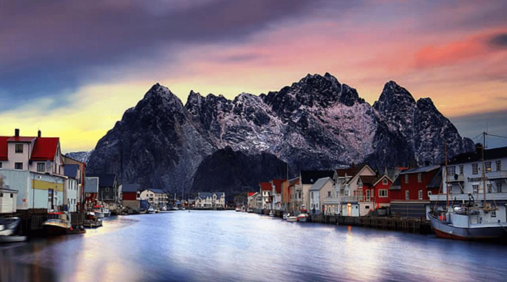 Henningsvaer View at Sunset Norway