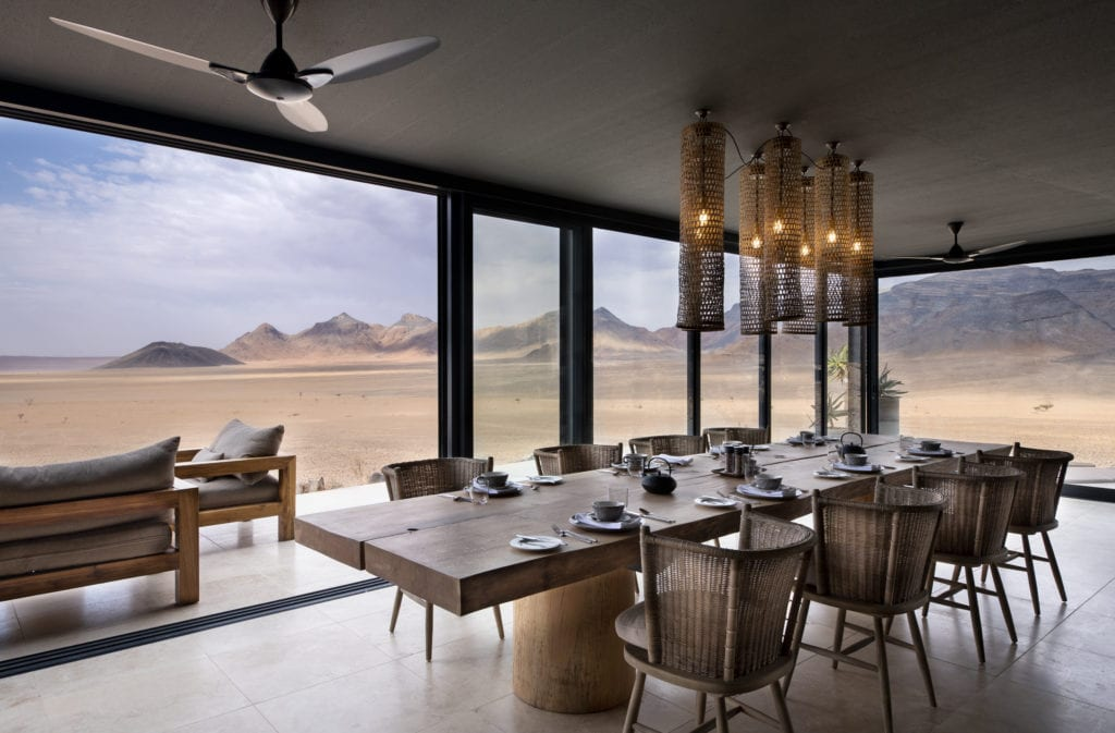 Indoor Guest Area and View of Namib Desert at Sossusvlei Lodge