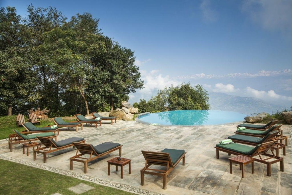 Infinity Swimming Pool at Dwarikas Resort in Nepal