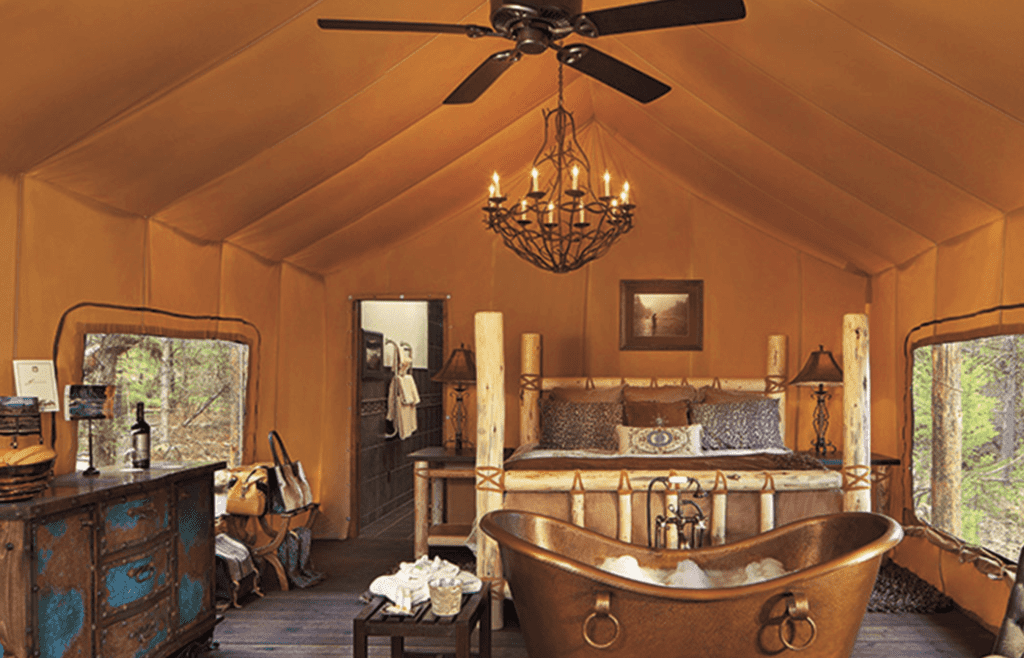 Interior of Bedroom with Freestanding Bath at Paws Up Montana North America