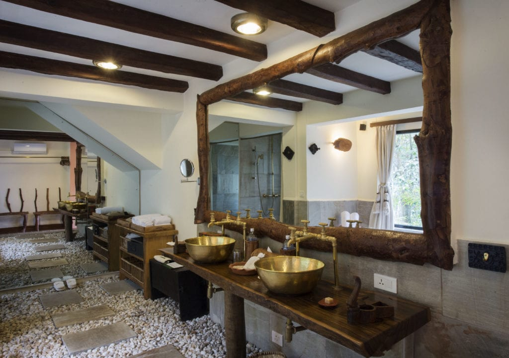 Interior of Bathroom at Dwarikas Resort in Nepal