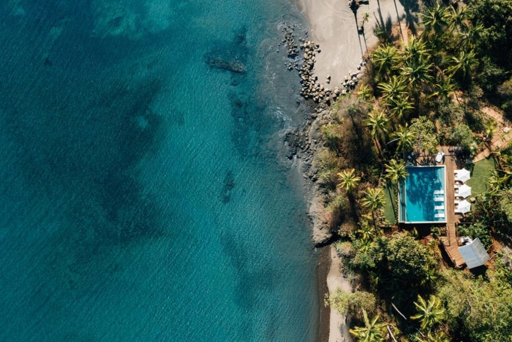 Aerial View of Isla Secas and Pool Panama