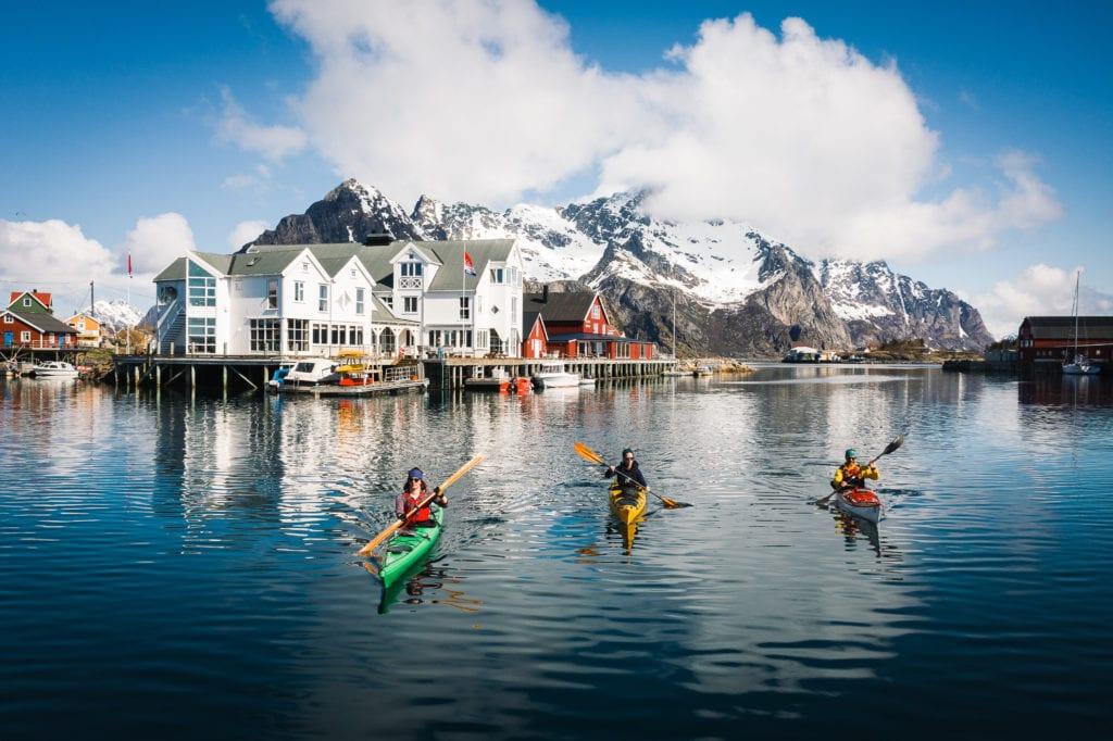 Kayaks at Henningsvaer Norway