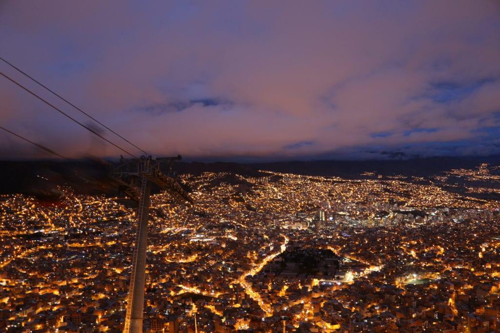 La Paz at Night in Bolivia