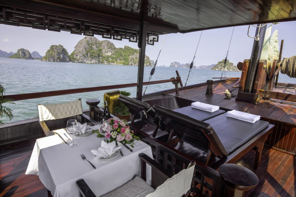 Outdoor Dining on Lamour Junk Halong Bay Vietnam