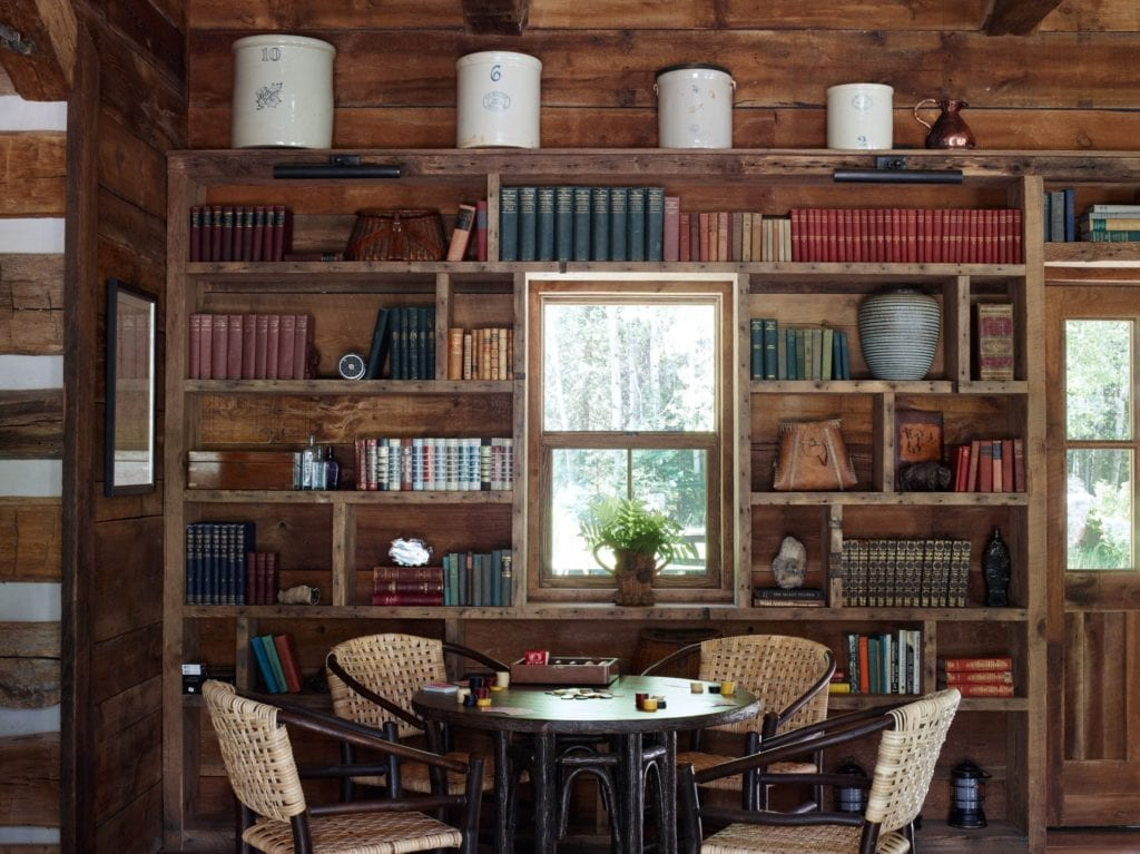 Lounge and Library Area Interior Taylor River Lodge Colorado USA