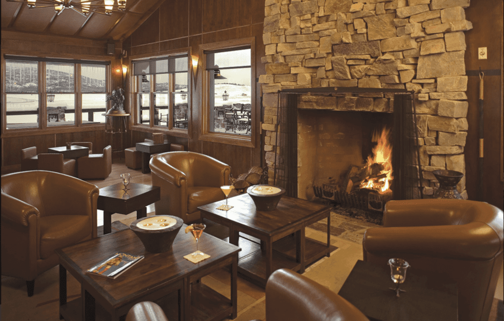 Lounge Area and Fireplace at Paws Up Montana North America
