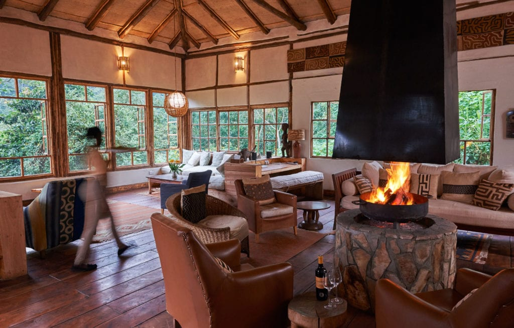 Lounge Fireplace Bwindi
