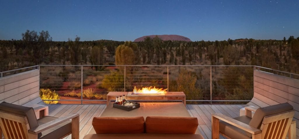Luxury tent Balcony at Longotude 131 in Australia