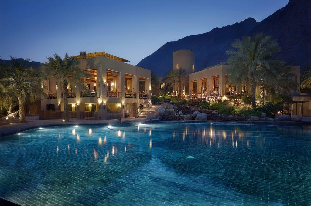Main Pool Six Senses Zighy Bay at Night Oman