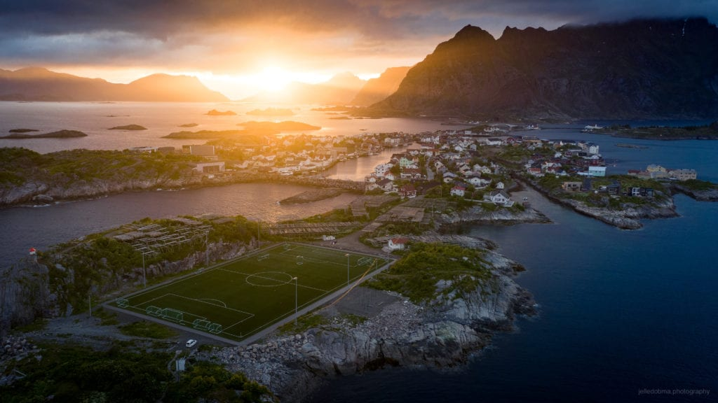Midnight Sun in Henningsvaer, Norway