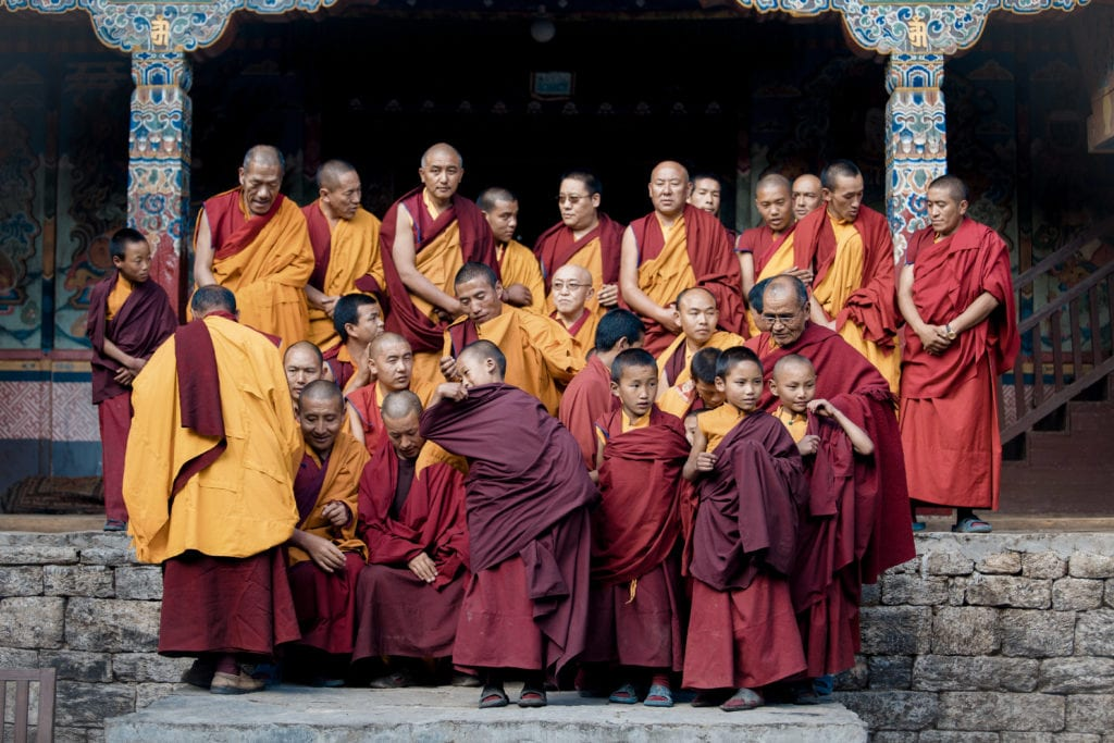 Monks on Steps in Nepal