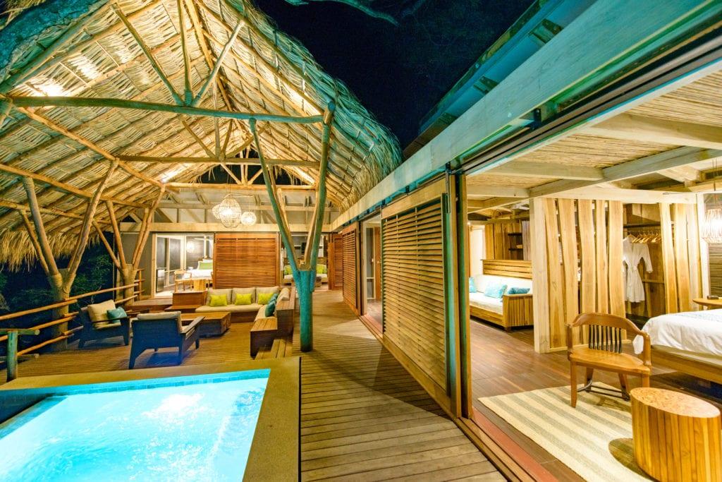 Pool and Interiors at Night at Morgans Rock in Nicaragua