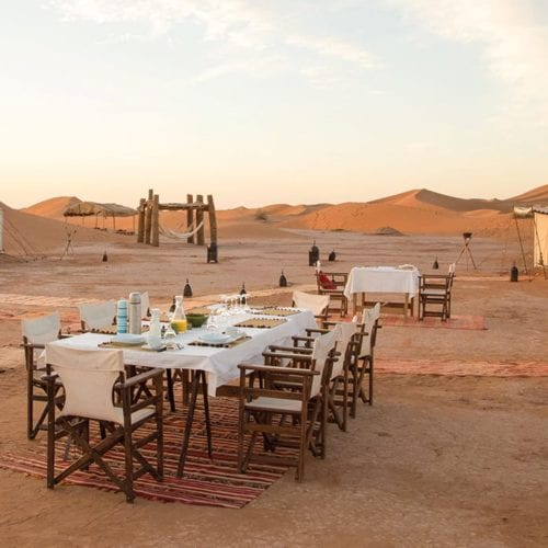 Breakfast at the private Camp Morocco