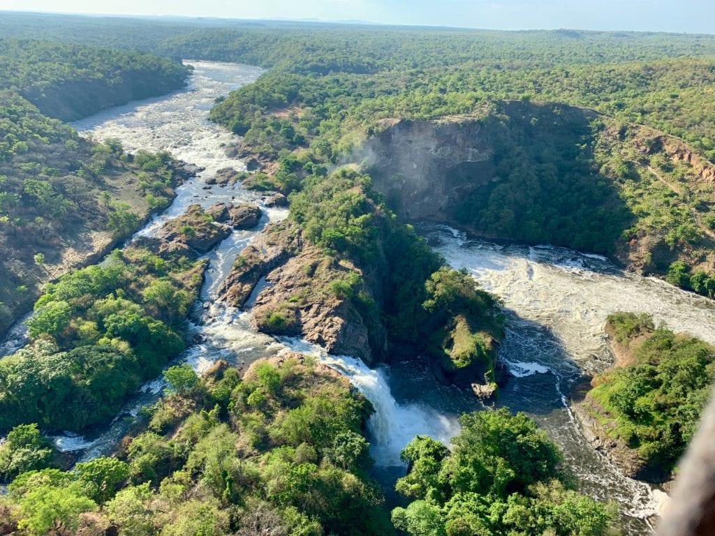 Aerial Waterfall Uganda