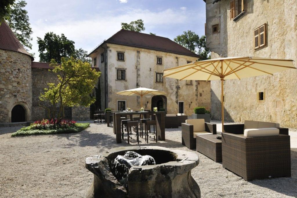 Outdoor Dining Area Hotel Grad Otocec Slovenia