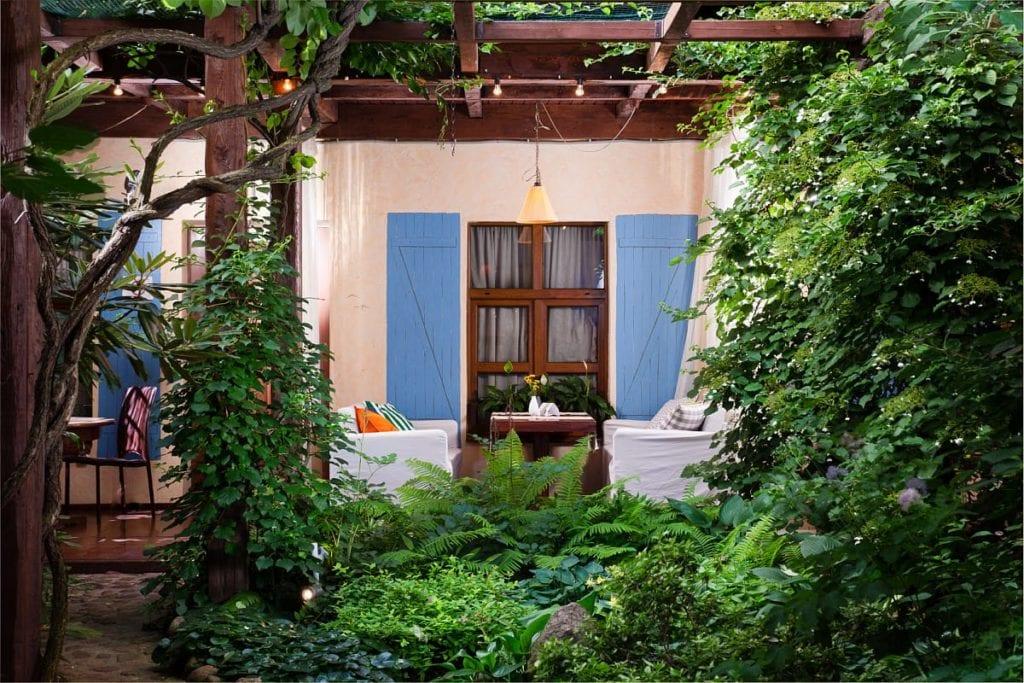 Outdoor garden Seating Area Alexander House St Petersburg Russia
