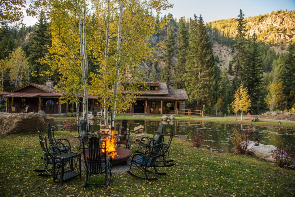 Outdoor Seating Area and Firepit Taylor River Lodge Colorado North America