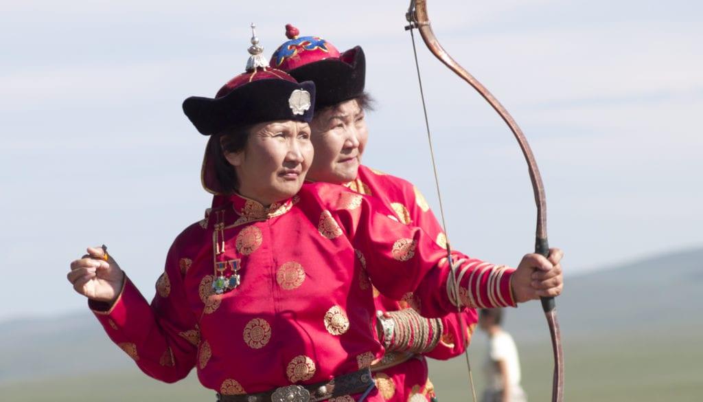 Mongolian Woman and Bow