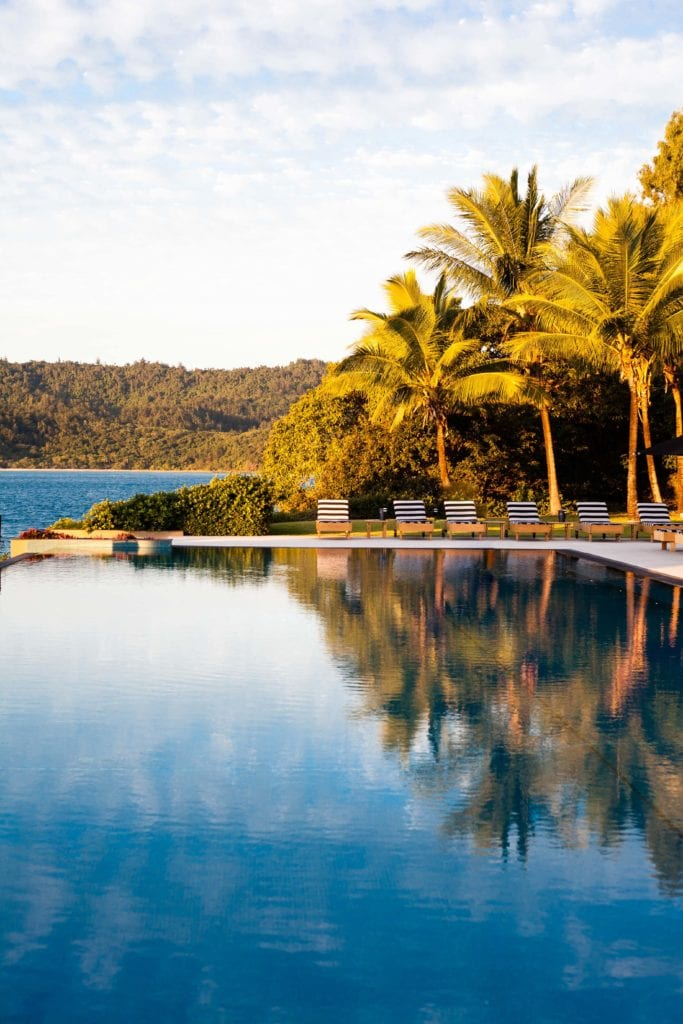 Pebble Beach Outdoor Pool at Sunset Qualia Whitsundays Australia