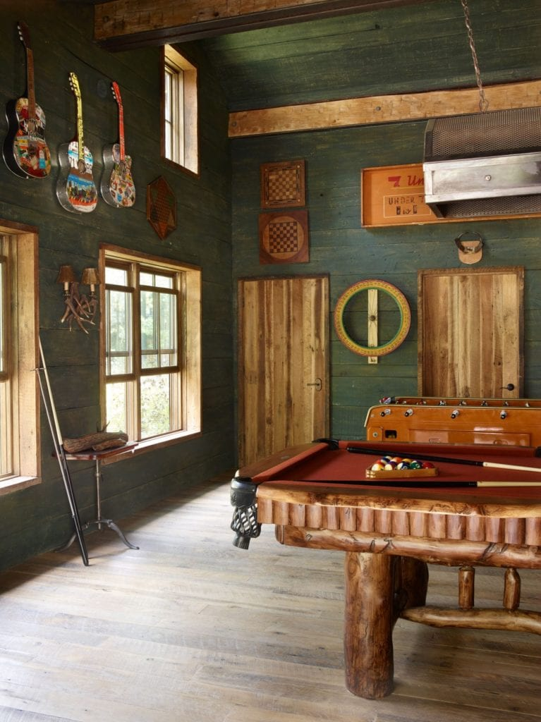 Pool Table Interior and Lounge Area Taylor River Lodge Colorado USA
