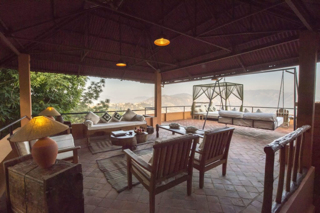 Outdoor Living Space at Dwarikas Resort in Nepal