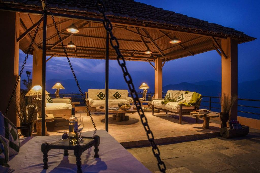 Outdoor Lounge Area at Dwarikas Resort at Night in Nepal