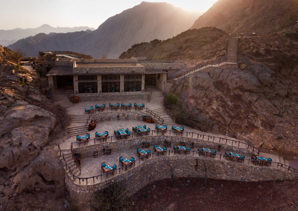 Aerial view exterior Six Senses Zighy Bay Oman