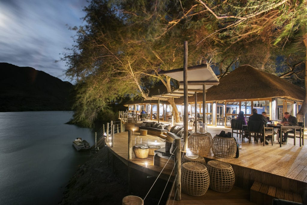Exterior of Serra Cafema at Night Namibia