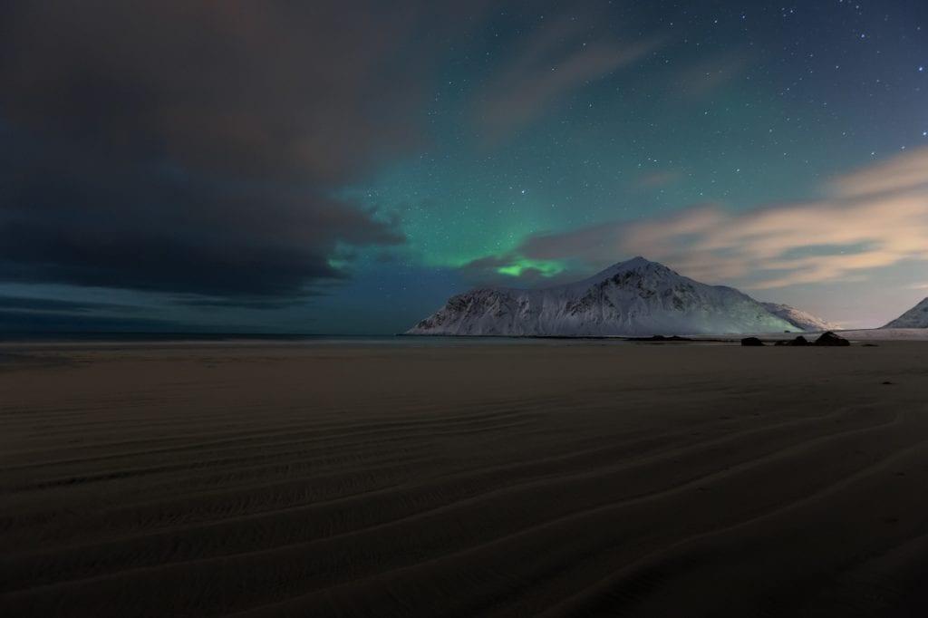 Skagsanden beach under the Northern Lights