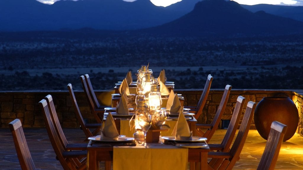 Sundowner Terrace at GocheGanas Nature Reserve and Wellness Village in Namibia