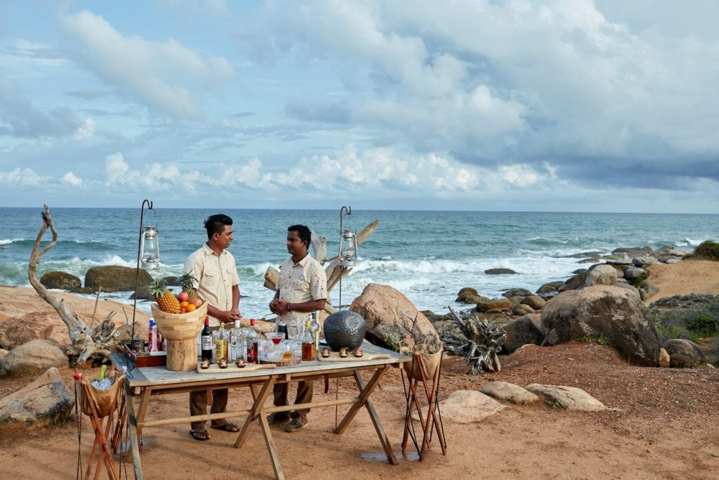 Sundowners on the Beach at Wild Coast Tented Lodge Sri Lanka