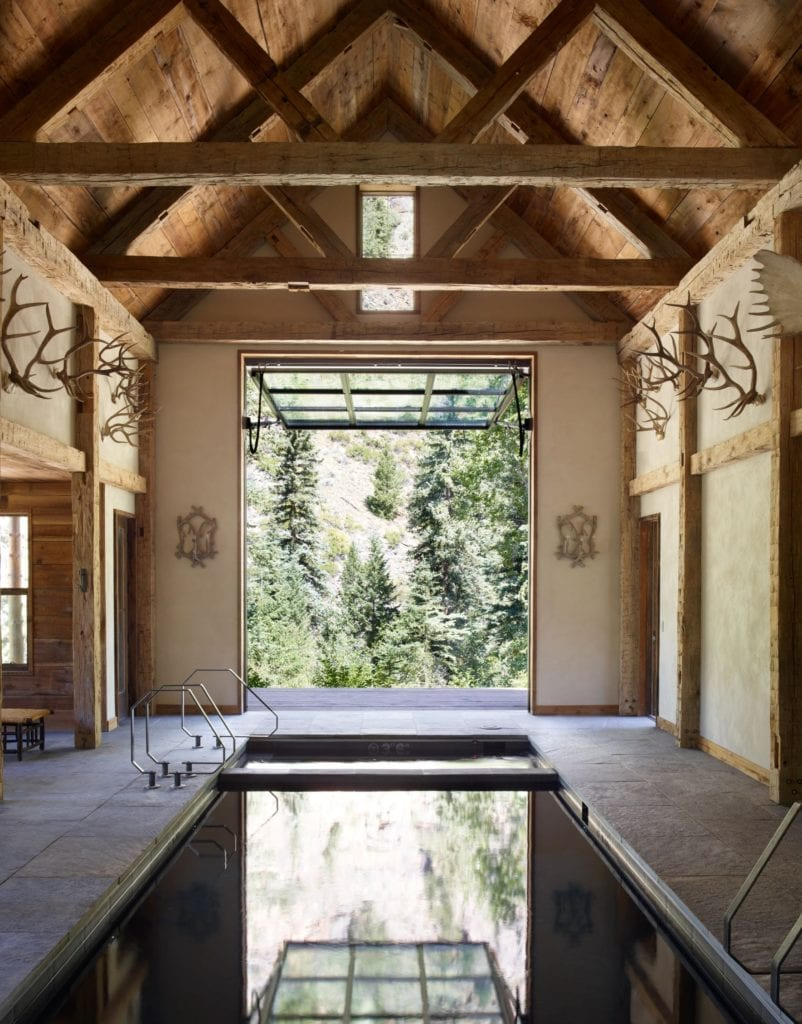 View of Pool and Forest at Taylor River Lodge Indoor Pool Taylor River Lodge Colorado USA