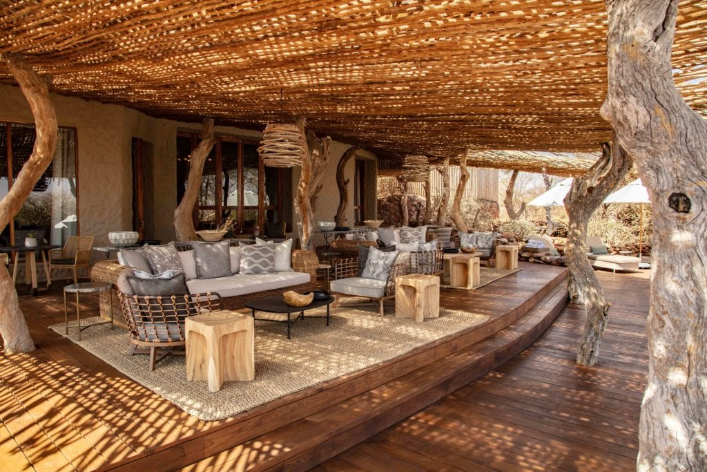 Outdoor Terrace Lounge and Seating Area Tswalu Kalahari Reserve South Africa