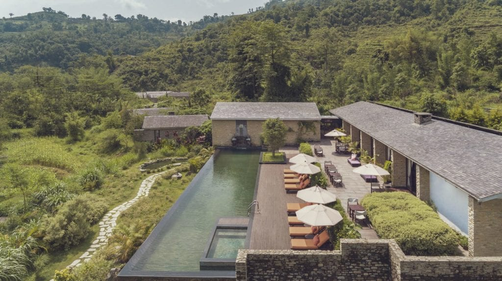 Exterior and Infinity Pool at The Pavilions Himalayas The Farm in Nepal