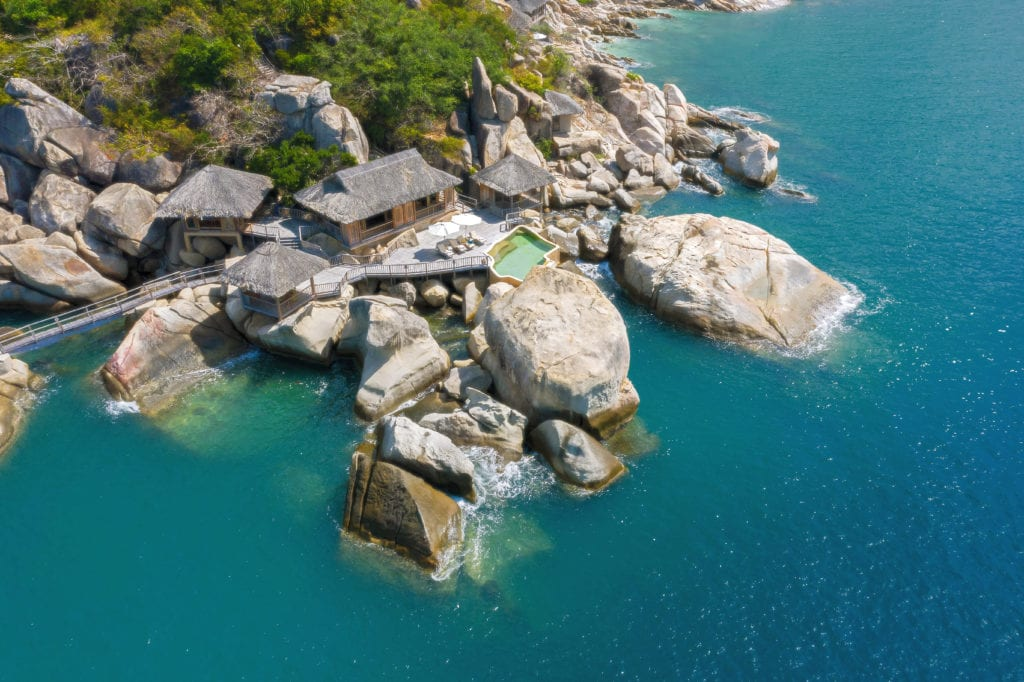 Aerial View Exterior Rock Retreat Six Senses Ninh Van Bay Vietnam