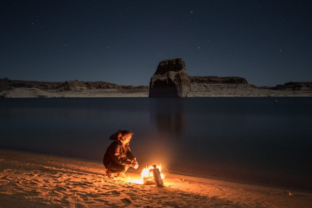 Fire by lake Powell Utah USA