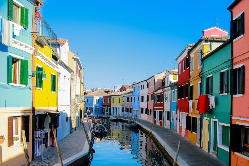 Colourful street in Venice